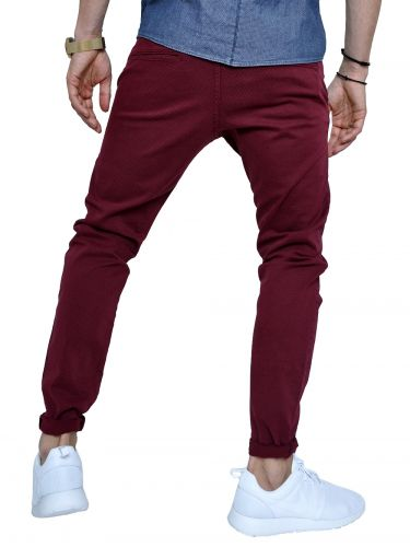 AKIRO chino pants DA242 burgundy red