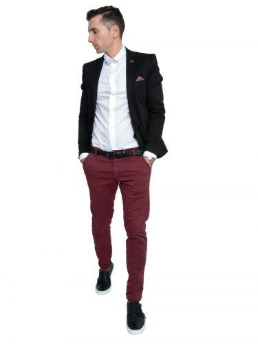 AKIRO chino pants DA242 burgundy red