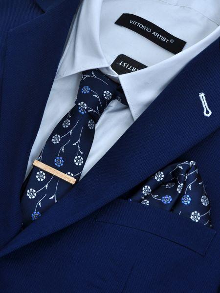 GAD ACCESSORIES γραβάτα-ποσέ PLSET16-08 με μεγάλες μαργαρίτες μπλε μαρίν